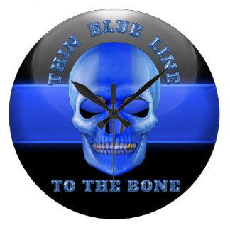Thin Blue Line to the Bone Large Clock