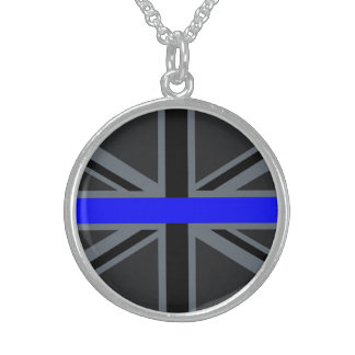 Thin Blue Line Union Jack Design Sterling Silver Necklace