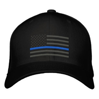 Thin Blue Line US Flag in Charcoal Embroidered Baseball Hat