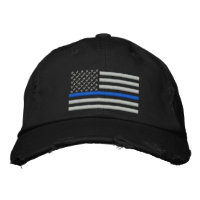 Thin Blue Line US Flag in Silver Embroidered Baseball Hat