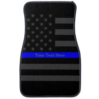 Thin Blue Line US Flag Personalized Graphic Accent Car Mat
