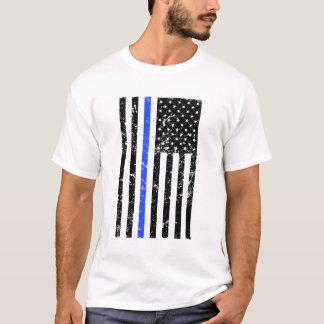 Thin Blue Line - USA Flag - Distressed Police T-Shirt