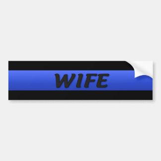 Thin Blue Line Wife Car Bumper Sticker