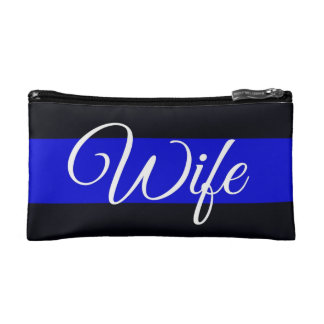 Thin Blue Line Wife Cosmetics Bag