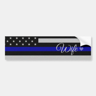 Thin Blue Line Wife Flag Bumper Sticker