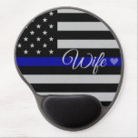 "Thin Blue Line Wife Flag Gel Mouse Pad<br><div class=""desc"">Thin Blue Line Wife Flag *All of my work is done by scratch and each graphic and pieces of literature have taken me hours upon days to complete. I&#39;m proud and protective of my work so I ask that you do not take my designs and/or literature and use it to...</div>"