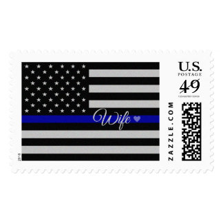 Thin Blue Line Wife Flag Postage Stamps