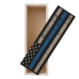 Thin Blue Line Wine Box America Flag Police