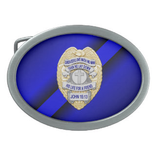 Thin Blue Line with Badge Oval Belt Buckle