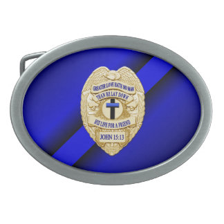 Thin Blue Line with Badge Oval Belt Buckles