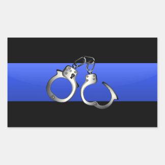 Thin Blue Line with Handcuffs Rectangular Sticker