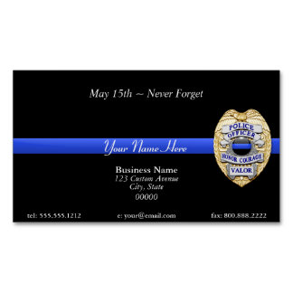 Thin Blue Line Magnetic Business Cards (Pack Of 25)