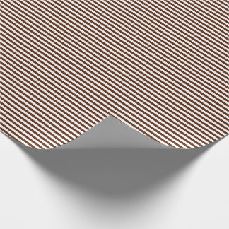 Thin Brown and White Stripes Wrapping Paper