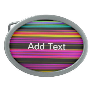 Thin Colorful Stripes - 2 Oval Belt Buckles