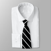 Thin diagonal black and white stripes classic tie