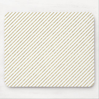 Thin diagonal stripes in gold glitter mouse pad