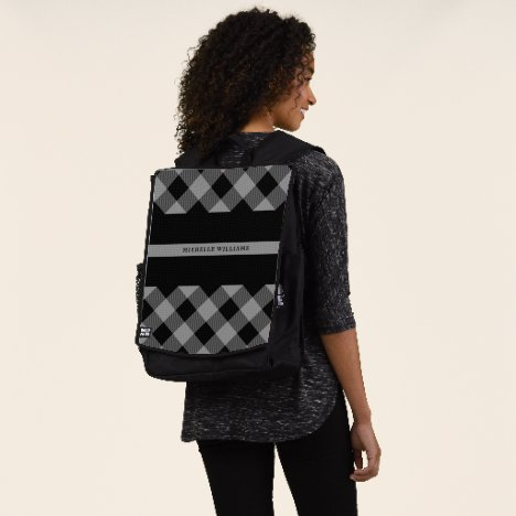 Thin Gray Line Correctional Buffalo Plaid Monogram Backpack