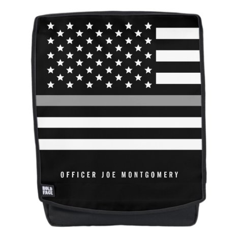 Thin Gray Line Monogrammed Name Backpack