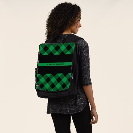 Thin Green Line Military Buffalo Plaid Monogram Backpack