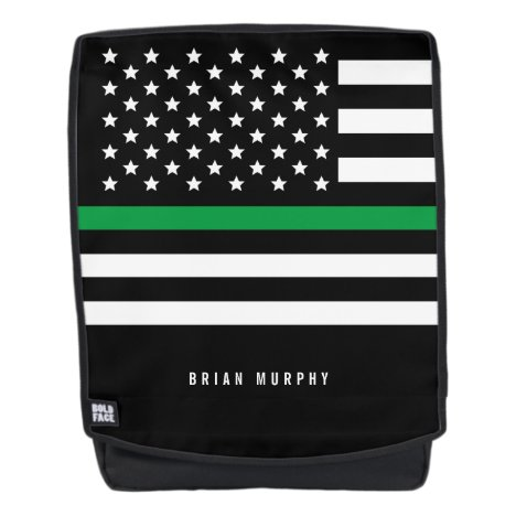 Thin Green Line Military Monogrammed Name Backpack