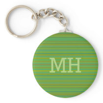 Thin Green Stripes custom monogram key chain