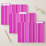 [ Thumbnail: Thin Magenta and Pink Stripes Pattern File Folders ]