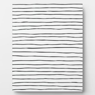 Thin modern wiggly black and white paintbrush stri plaque
