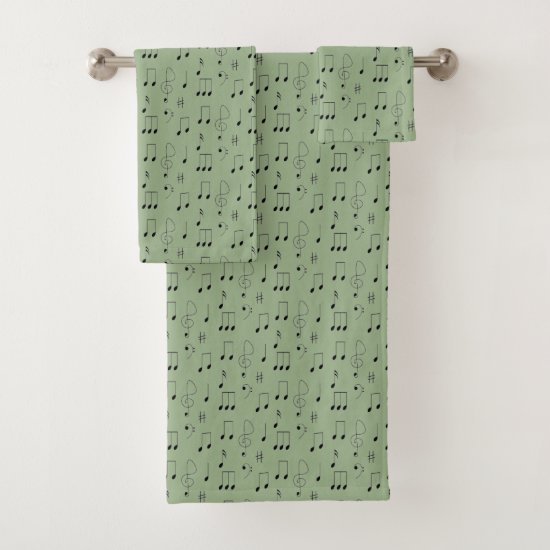 Thin Notes Sage Bath Towel Set