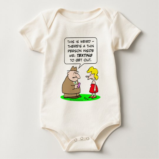 thin person inside texting to get out baby bodysuit