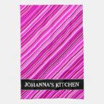 [ Thumbnail: Thin Pink & Magenta Lines Pattern + Custom Name Kitchen Towel ]