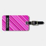 [ Thumbnail: Thin Pink & Magenta Lines Pattern + Custom Name Luggage Tag ]
