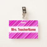 [ Thumbnail: Thin Pink & Magenta Lines Pattern + Teacher Name Badge ]