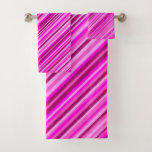 [ Thumbnail: Thin Pink & Magenta Lines Pattern Towel Set ]