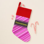 [ Thumbnail: Thin Pink & Magenta Lines Pattern W/ Custom Name Christmas Stocking ]