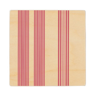 Thin Pink Vertical Stripes Off White Background Wooden Coaster