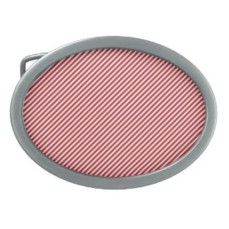 Thin Red and White Diagonal Stripes Oval Belt Buckle