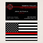 Thin Red Line American Flag Business Card at Zazzle