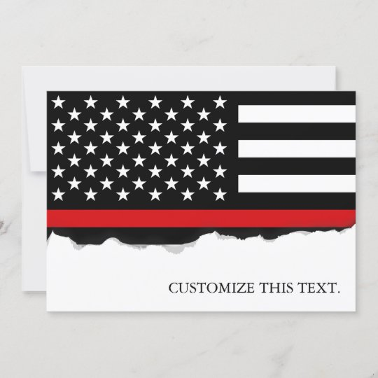 Red Line American Flag >> Thin Red Line American Flag Card