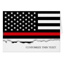 Thin Red Line American Flag Card
