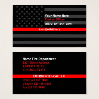 Thin Red Line American Flag Contact Business Card