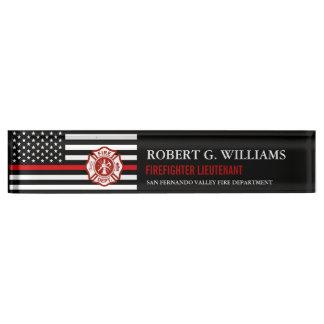 Thin Red Line American Flag Custom Desk Nameplate