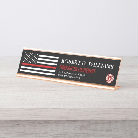 Thin Red Line American Flag Customized Desk Name Plate