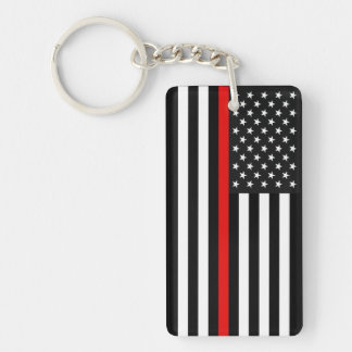 Thin Red Line American Flag Keychain
