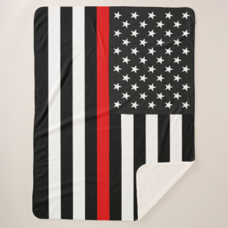Thin Red Line American Flag Sherpa Blanket
