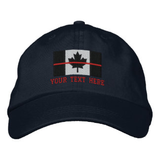 Thin Red Line Canadian Flag Personalize it Embroidered Baseball Hat