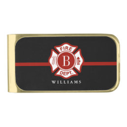 Thin Red Line Custom Monogram Maltese Cross Gold Finish Money Clip