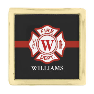 Thin Red Line Custom Name Fire Rescue Serviceman Gold Finish Lapel Pin