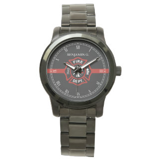 Thin Red Line Custom Name Fire Rescue Serviceman Wrist Watch