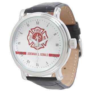 Thin Red Line Custom Name Firefighter Themed Wrist Watch