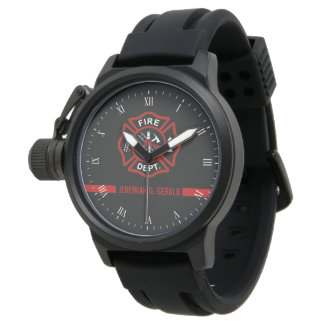 Thin Red Line Custom Name Stripe Firefighter Wristwatch